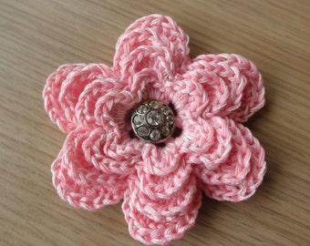 Pink flower brooch,hand crocheted,cotton flower brooch,vintage rhinestone metal button,accessory