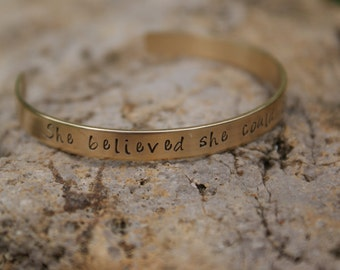 "Brass Personalized Handstamped 1/4"" Cuff Bracelet"