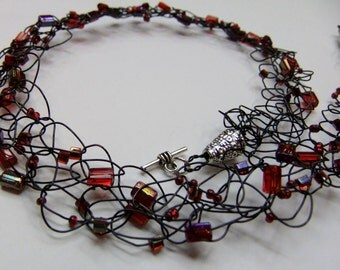 Black and Red Wire Crochet Beaded Necklace