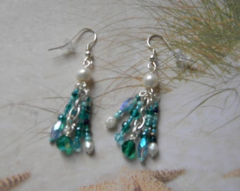 Freshwater Pearl Aqua Waterfall Earrings