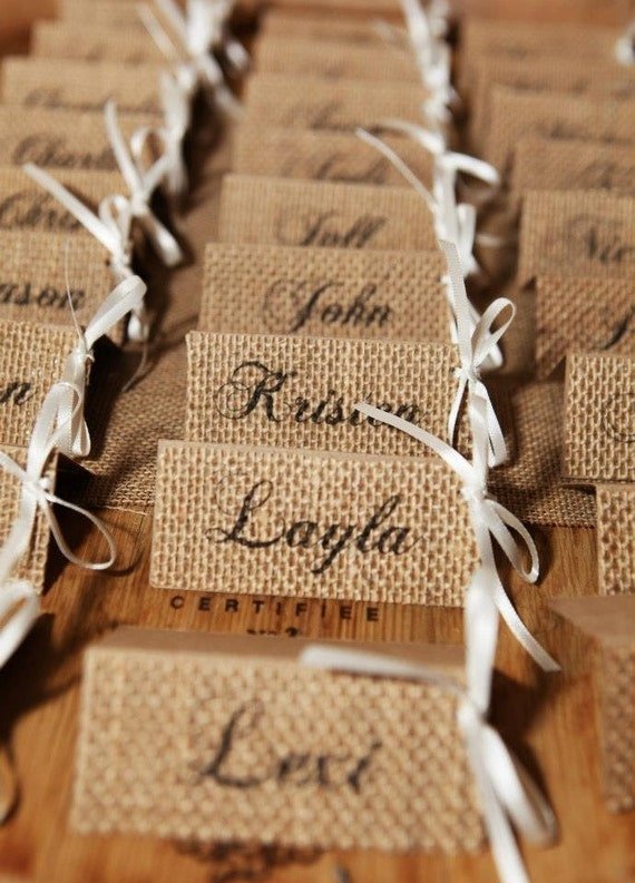 Fresh Items similar to Burlap Wedding Place Cards - Burlap Name Tags  PG89