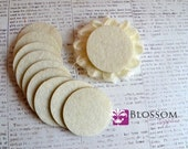 "1.5"" Ivory ADHESIVE Felt Circles - Sticky Felt Circles - Felt Backing - 20 Pieces - Wholesale Supplies - DIY Baby Headbands"