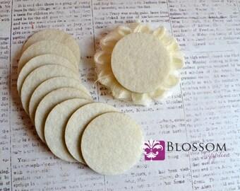"1.5"" Ivory ADHESIVE Felt Circles - Sticky Felt Circles - Felt Backing - 20 Pieces - Wholesale Supplies - DIY Baby Headbands Blossom Supplies"