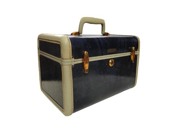 Vintage Samsonite Train Case Carry On Luggage Navy Blue