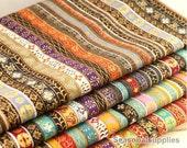 Colorful Stripe Cotton Linen Fabric BOHO Bohemian Style Garment Chair Cushion Fabric- 1/2 Yard (QT222)