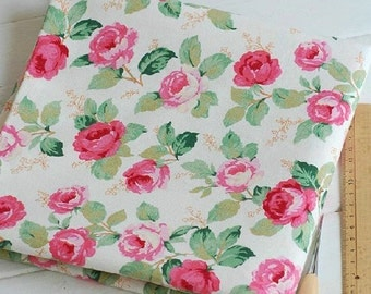 Cotton Linen Fabric,Craft, Shabby Chic Pink Flower,Rose,Vintage Pattern,Vintage Style,diy,Sewing 1/2 yard (QT169)