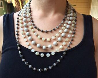 3 gemstone layered necklace