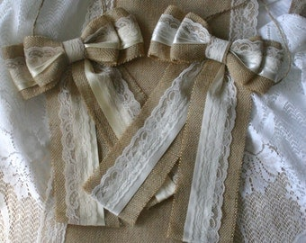 Burlap and lace wedding bows,