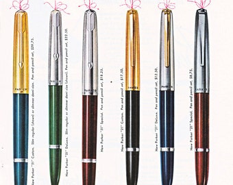 vintage pen ad for new Parker Pens and Pencils, from 1952.