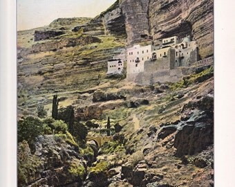 antique print of Jerusalem, Convent of Saint George, a color lithograph from 1908