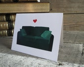 Green Couch Heart Love Blank 5 by 4 Greeting Card