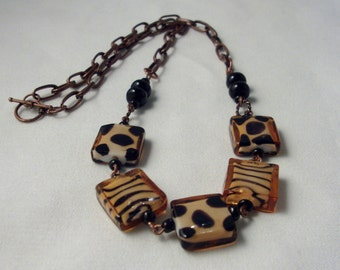 Animal print Zebra & Cheetah square link, black onyx and copper Necklace
