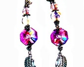 """Earrings- Swarovski Crystal, Metal Dragonflies and Wings  """"I am Strong"""", Everyday wear."""
