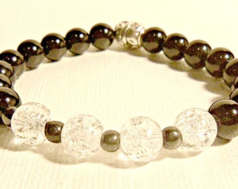 "Unisex  Bracelet:  Rock Quartz Crystal, Black Jasper And Hematite ""Guardian Angel"""