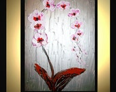 Original Medium Abstract Painting Modern Contemporary Canvas Art  Silver White PINK ORCHIDS Flowers 24x18 Palette Knife Texture Oil J.LEIGH