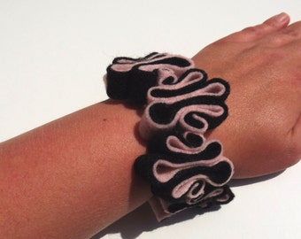 Felt Bracelet, Boho, Eco Jewelry, Recycled, Free Form, Black and Pink Bracelet, Felted Jewelry,