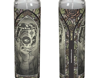 """Vintage Day of the Dead Candle - """"Elena"""""""