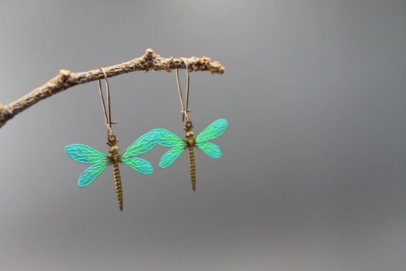 Dragonflies, turquoise blue, brass earrings, dangle earrings, summer, gifts to her