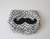 diaper cover/ gray chevron/ mustache/ little man