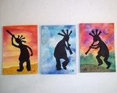Kokopelli Original ACEO, Art Cards, set of 3, OOAK