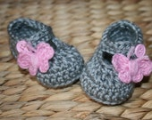 Gray and Pink mary janes butterfly baby girl gift shower gift shoes slippers booties butterflies pink buttons