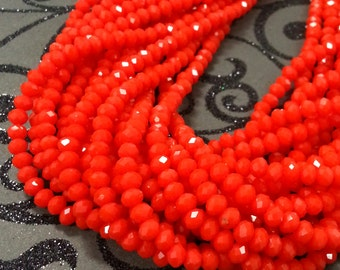 Chinese Crystal. 4 mm Rondelle Red Color.