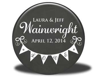 PERSONALIZED Wedding Favors - Mirror, Magnet, Bottle Opener or Pin - Banner