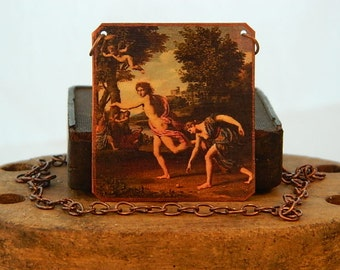 Greek Mythology jewelry Atalanta and Hippomenes mixed media jewelry