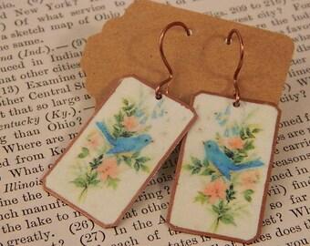 Bluebird earrings Happiness Spring earrings mixed media jewelry