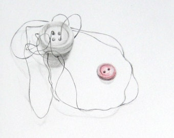 """Sewing art print, delicate pencil drawing of buttons and thread, graphite and colored pencil, 6 x 6"""""""