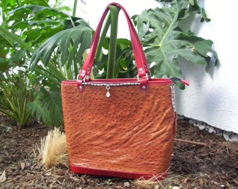 Sale - Ostrich and Leather Tote