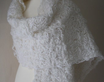 White Merino wool sewn (crazy wool technique) scarf. FREE UK SHIPPING