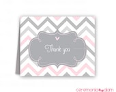Baby shower thank you cards chevron pale pink and grey PRINTABLE