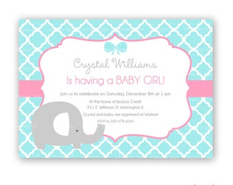Baby shower girl elephant turquoise and pink quatrefoil printable invitation