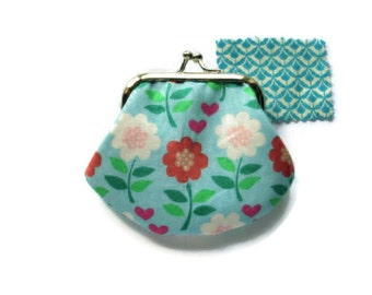 Framed Coin Purse - Small - Flowers and Hearts Print  - UK Seller