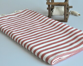 Beach Towel - Cotton Peshtemal Towel in Red color