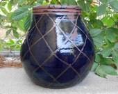 Cobalt Blue Netted Pot Vase