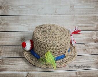RTS Newborn Fishing Camping Crochet Hat Boys Photo Prop 0-3 Month Ready to Ship