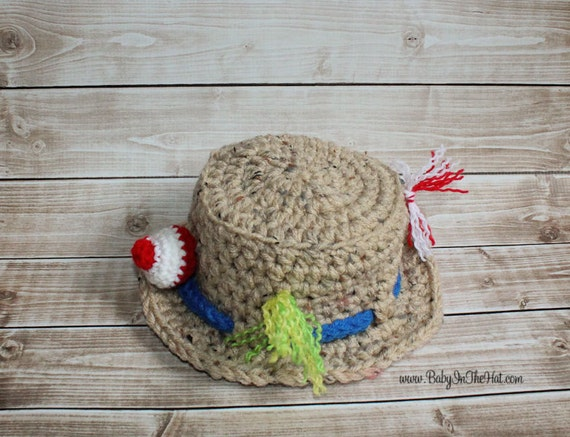 Little boys fishing camping crochet hat boys photo prop for Baby fishing hat
