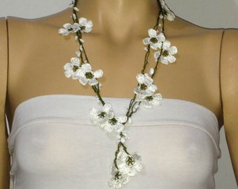 WHITE OYA crocheted necklace with white semiprecious stones