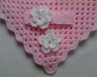 Crochet Baby Blanket and Baby Headband Set Christening Baptism Gift Girl Pink White Flower