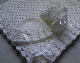 Crochet Baby Blanket, Hat and  Booties Set gift christening baptism baby white baby shower