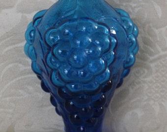 Vintage 1960's Blue Bottle Vase With Grapes