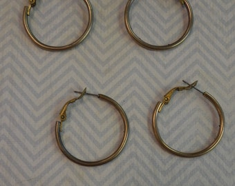 Vintage Antique Brass 30mm Brass Pierced Post Hoop Earring Findings With Snap Closure (2 pair)