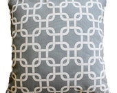 "CLEARANCE SALE!!!!! Gray Geometric Trellis Pillow Cover - 18"" x 18"" Decorative Pillow Cover"