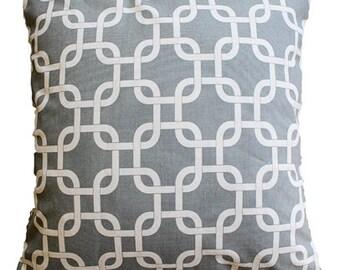 "CLEARANCE SALE!!!!! Gray Geometric Trellis Pillow Cover - 18"" x 18"" Decorative Pillow Cover"
