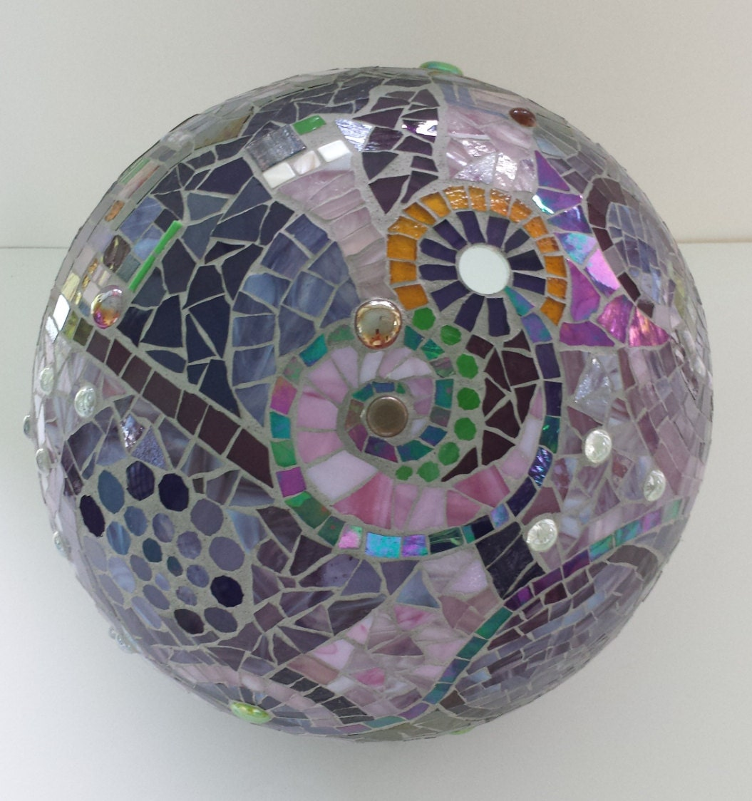 Mosaic orb garden gazing ball stained glass round