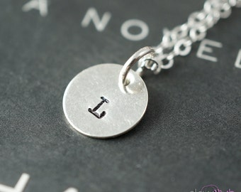 Letter necklace, Single initial, sequin charm, bridesmaid gifts, custom letter charm necklace, hand stamped jewelry