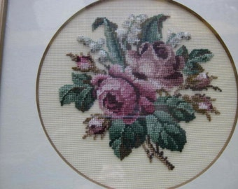 Roses Lily of the Valley Petite Point needlepoint Picture English country Vintage Shabby Chic French Country Cottage farmhouse
