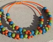 Mickey Mouse Beaded Hoop Earrings in Orange